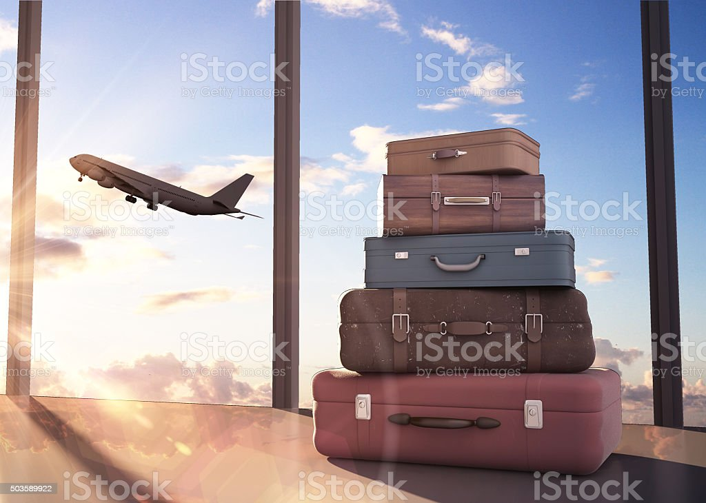 travel bags travel bags and airplane in sky Air Vehicle Stock Photo