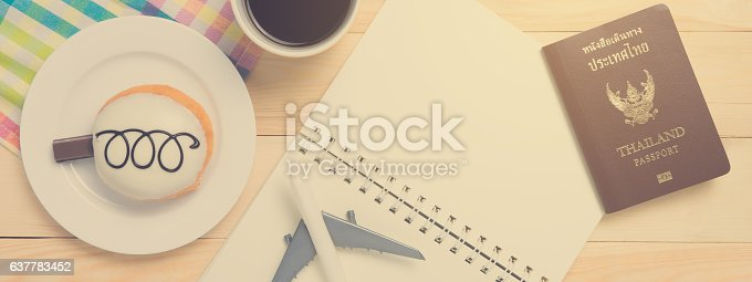 istock Travel blogger in coffee shop working space. 637783452