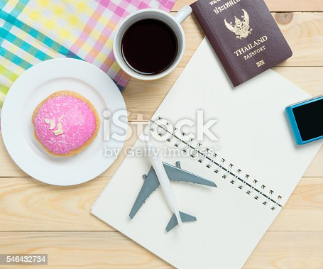 istock Travel Blogger stuffs for copy space in pastel tone 546432734