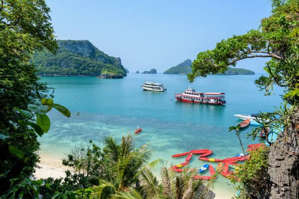 Travel boat at Koh Mae Ko stock photo