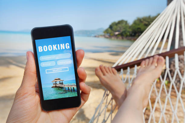travel booking, hotels and flights reservation stock photo