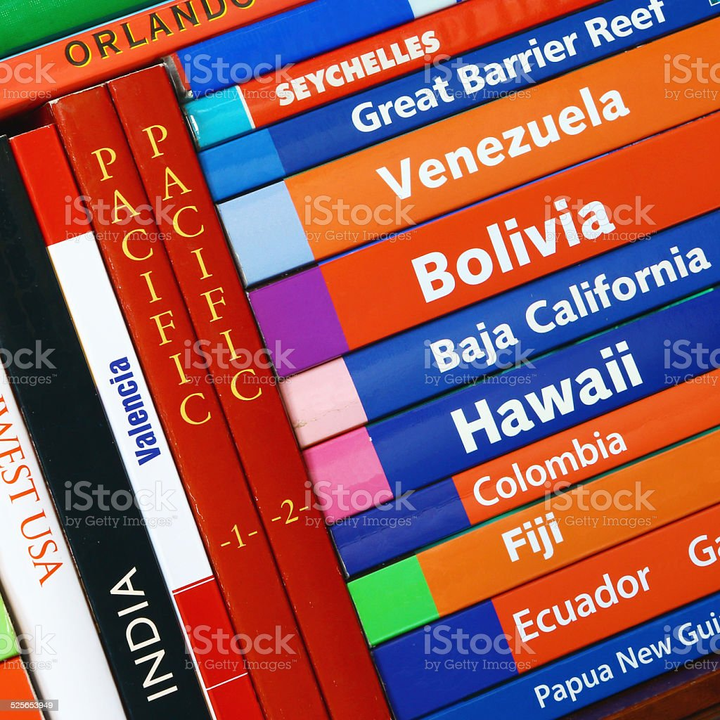 Travel books in square composition stock photo
