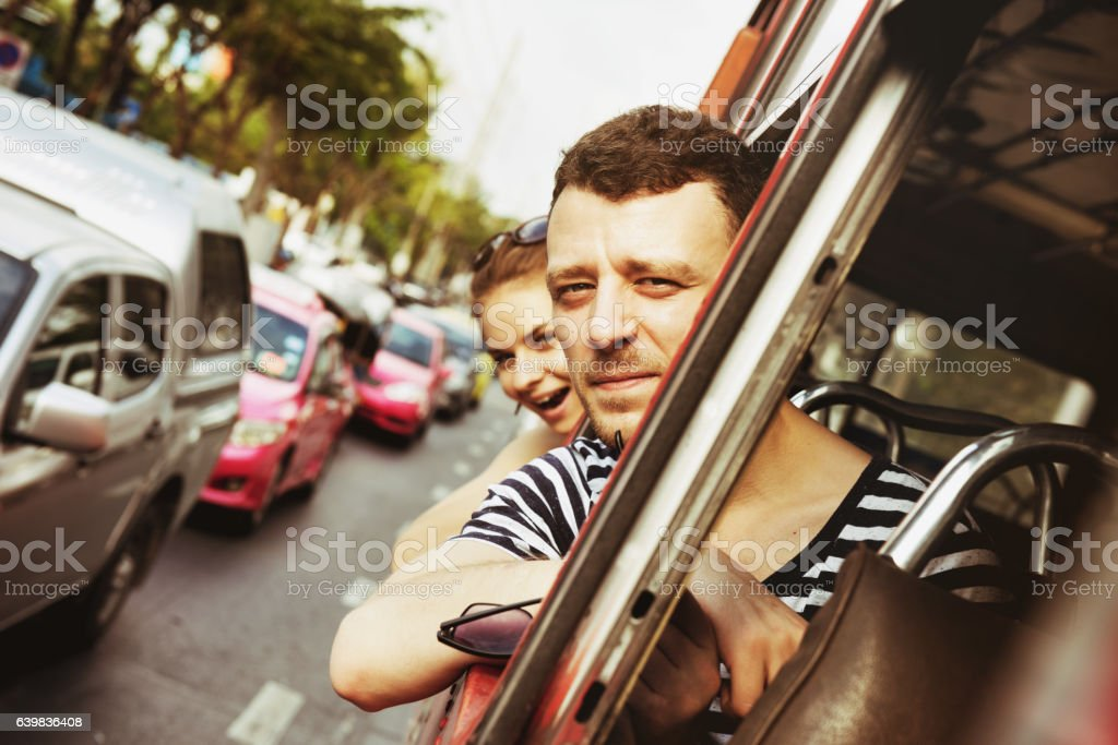 Travel bus road couple lifestyle stock photo