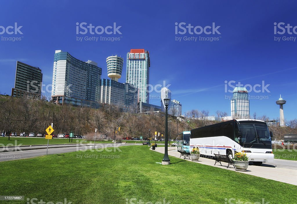 Travel buses in Niagara Falls city royalty-free stock photo