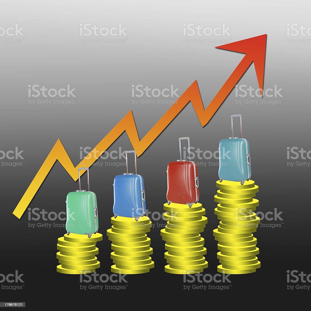 Viaje de negocios con un gráfico con creciente flecha roja sobre fondo negro. foto de stock libre de derechos