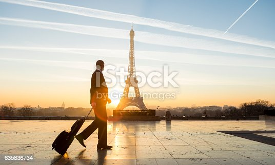 istock Travel businessman walking with suitcase at Eiffel Tower in Paris 635836734