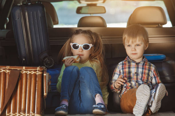 Travel by car family trip together vacation stock photo