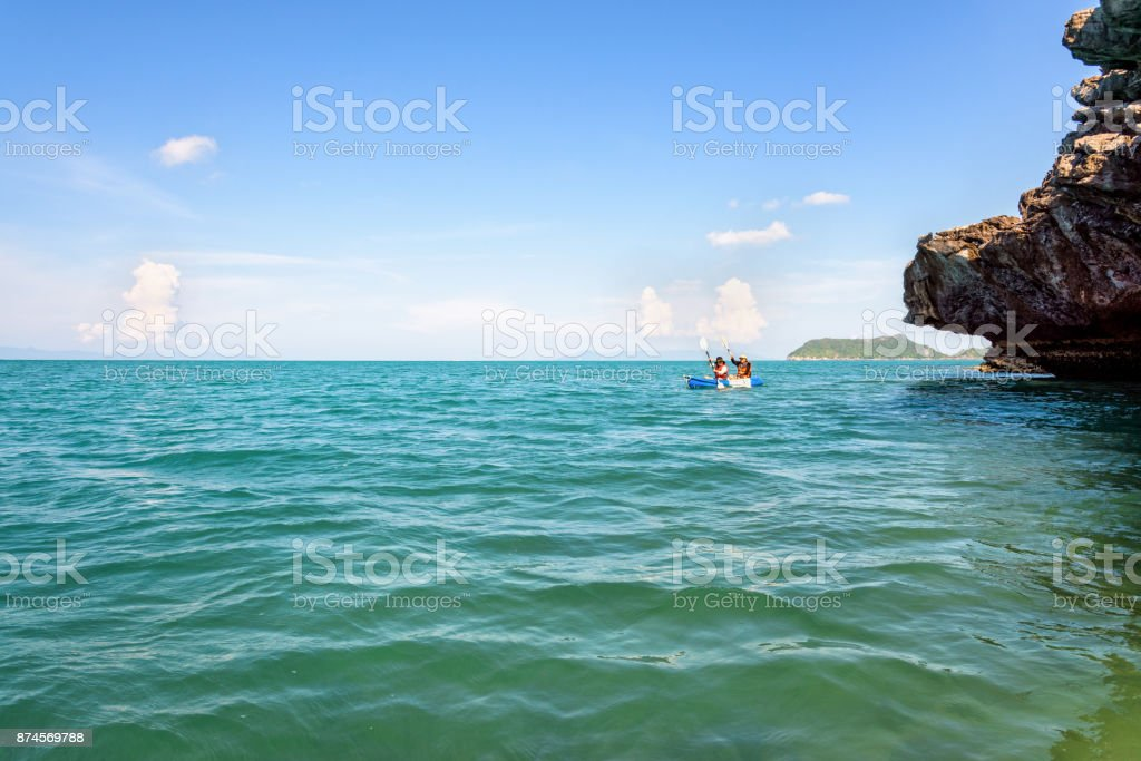 Travel by kayak stock photo