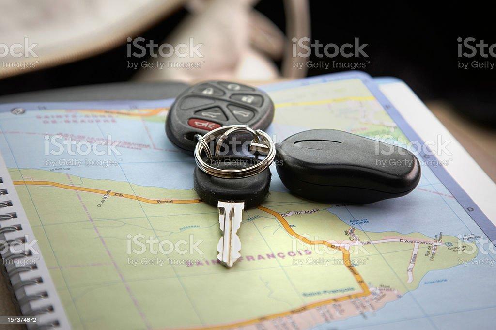 Travel car keys on map royalty-free stock photo