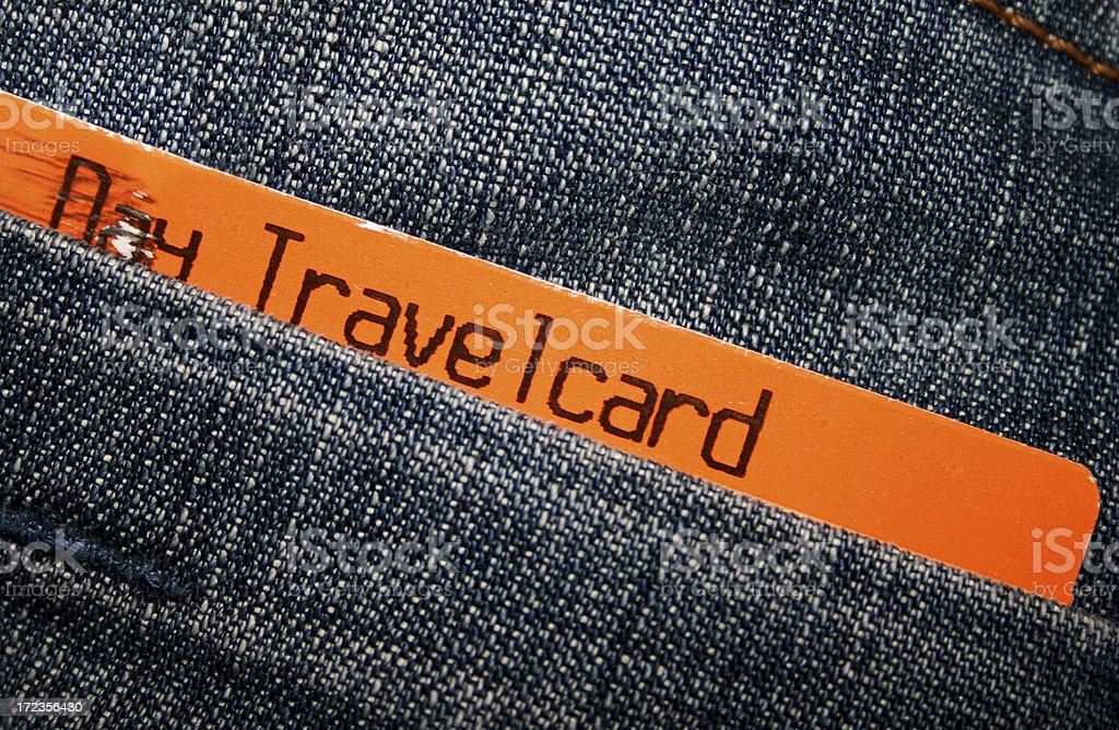 Travel Card in back pocket royalty-free stock photo