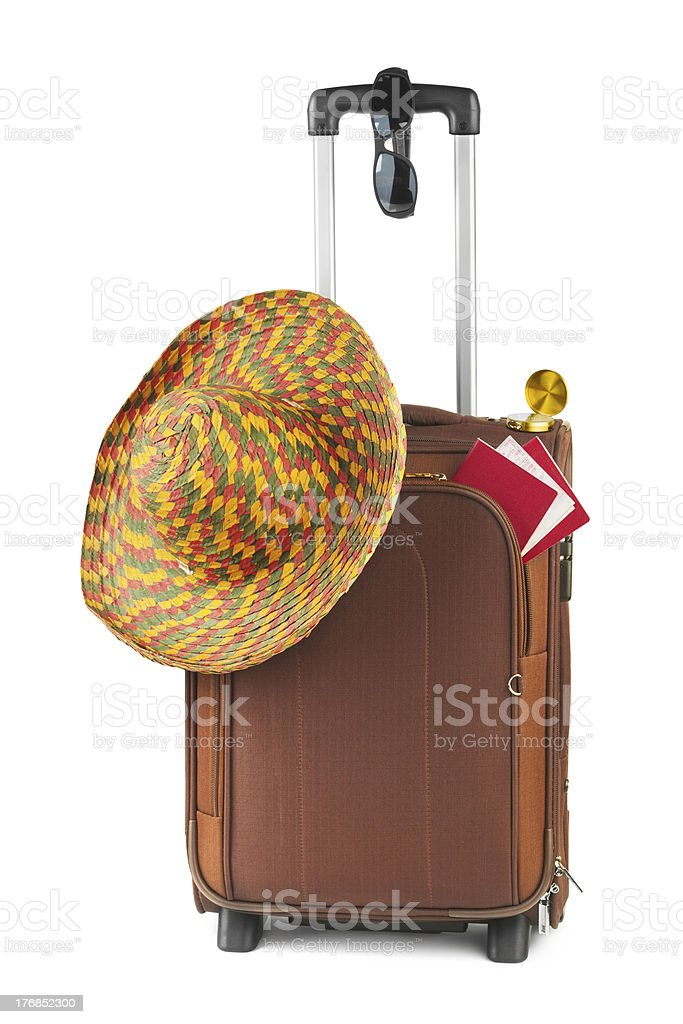 Travel case, hat, compass and sunglasses royalty-free stock photo