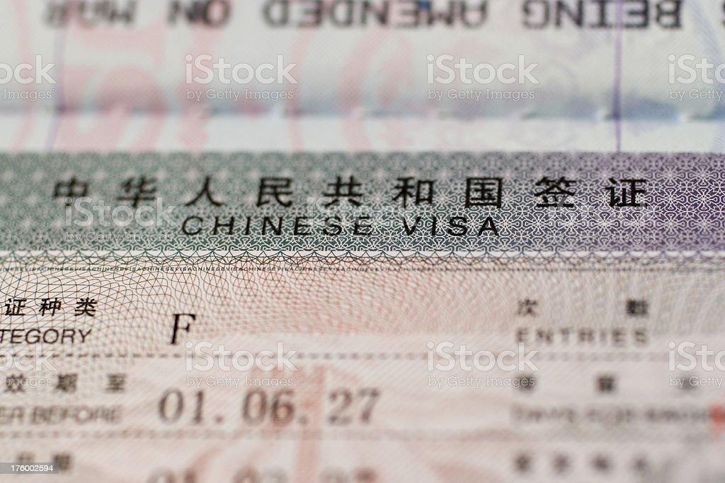 Travel: China Visa stock photo