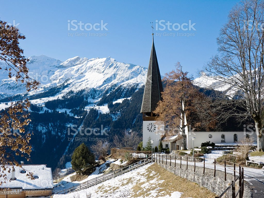 Travel; Church in Wengen, Winter royalty-free stock photo