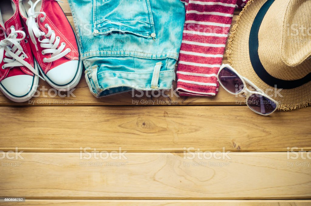 Travel Clothing accessories Apparel along for the trip royalty-free stock photo