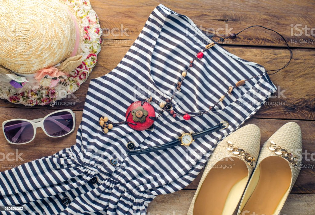 Travel Clothing accessories apparel along with summer for women royalty-free stock photo