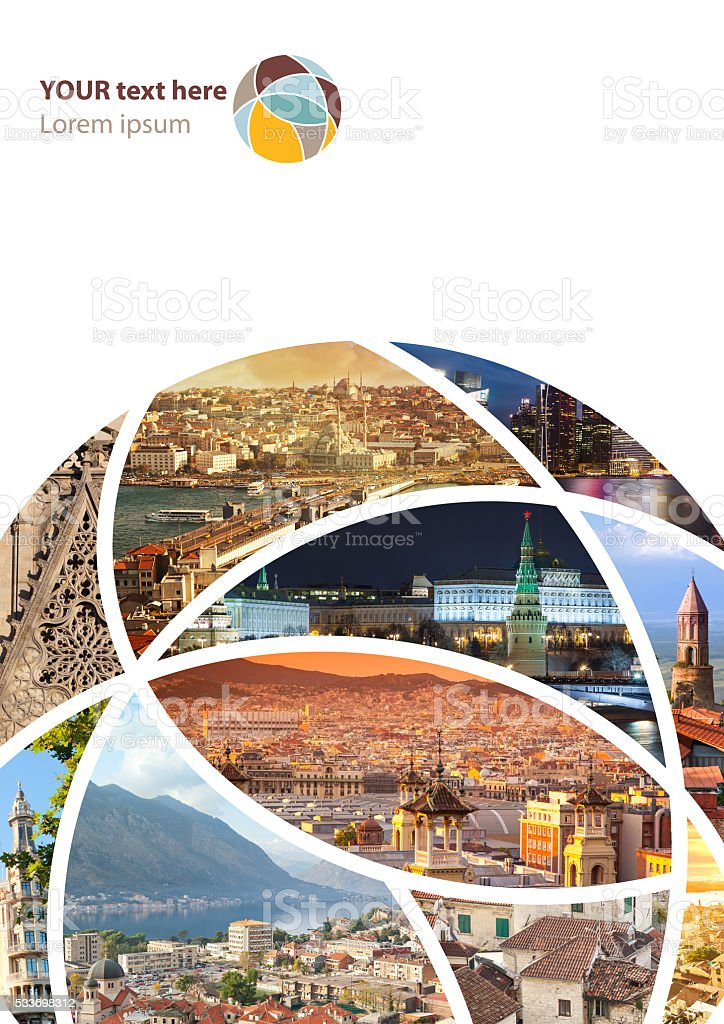 Travel collage. Can be used for cover design, brochures, flyers. stock photo