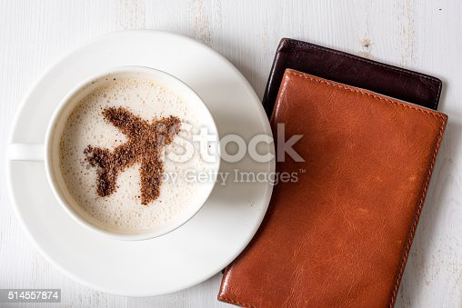 istock Travel concept. Aircraft made of cinnamon as coffee decoration. 514557874
