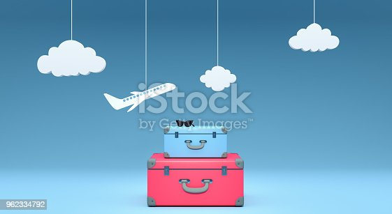 istock travel concept on blue background 3D rendering 962334792