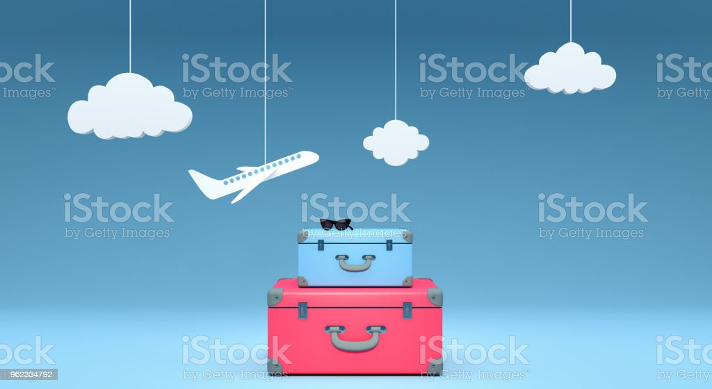 travel concept on blue background 3D rendering stock photo