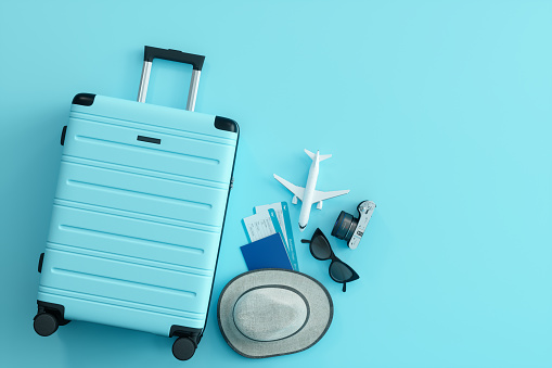 Travel Concept on Blue Background