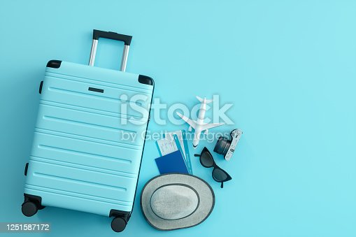 istock Travel Concept on Blue Background 1251587172