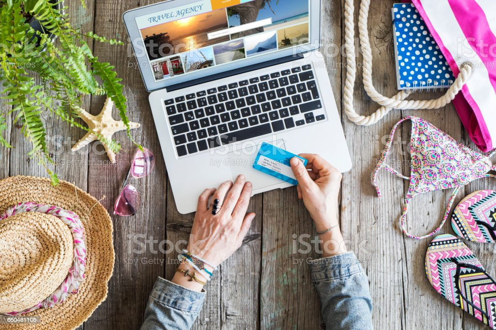 Travel concept on wooden table - Royalty-free Above Stock Photo
