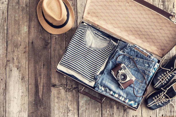 Travel concept on wooden table stock photo