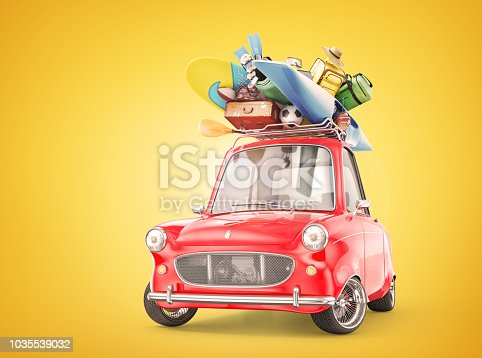 istock Travel concept. Retro car full of things for rest. 3d illustration 1035539032