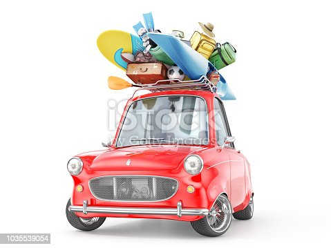 istock Travel concept. Retro car full of things for rest isolation on a white. 3d illustration 1035539054