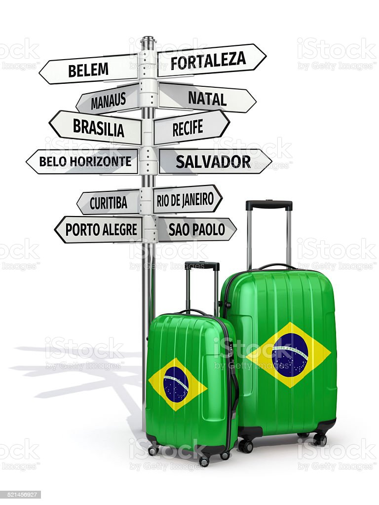 Travel concept. Suitcases and signpost what to visit in Brazil. stock photo