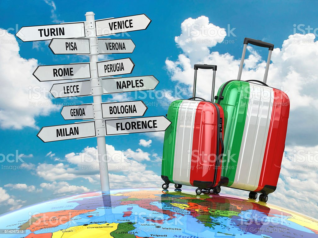 Travel concept. Suitcases and signpost what to visit in Italy. stock photo
