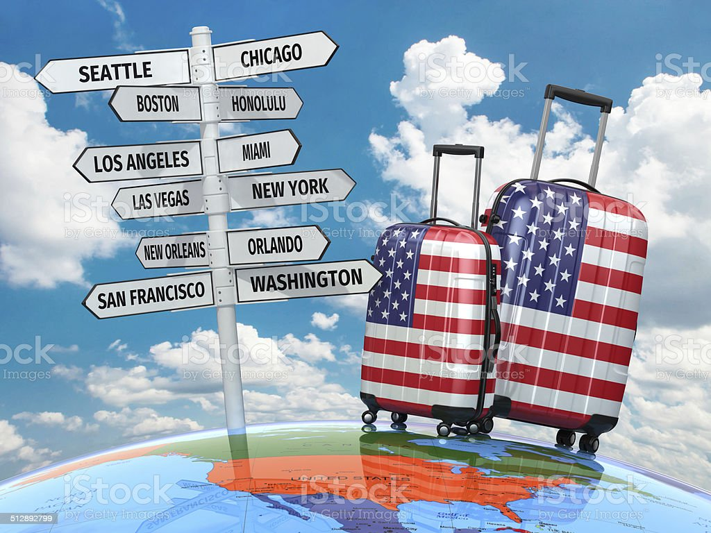 Travel concept. Suitcases and signpost what to visit in USA. stock photo