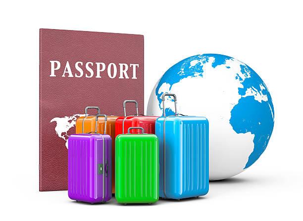travel concept. suitcases with passport and earth globe. 3d rend - gutschein bahn stock-fotos und bilder