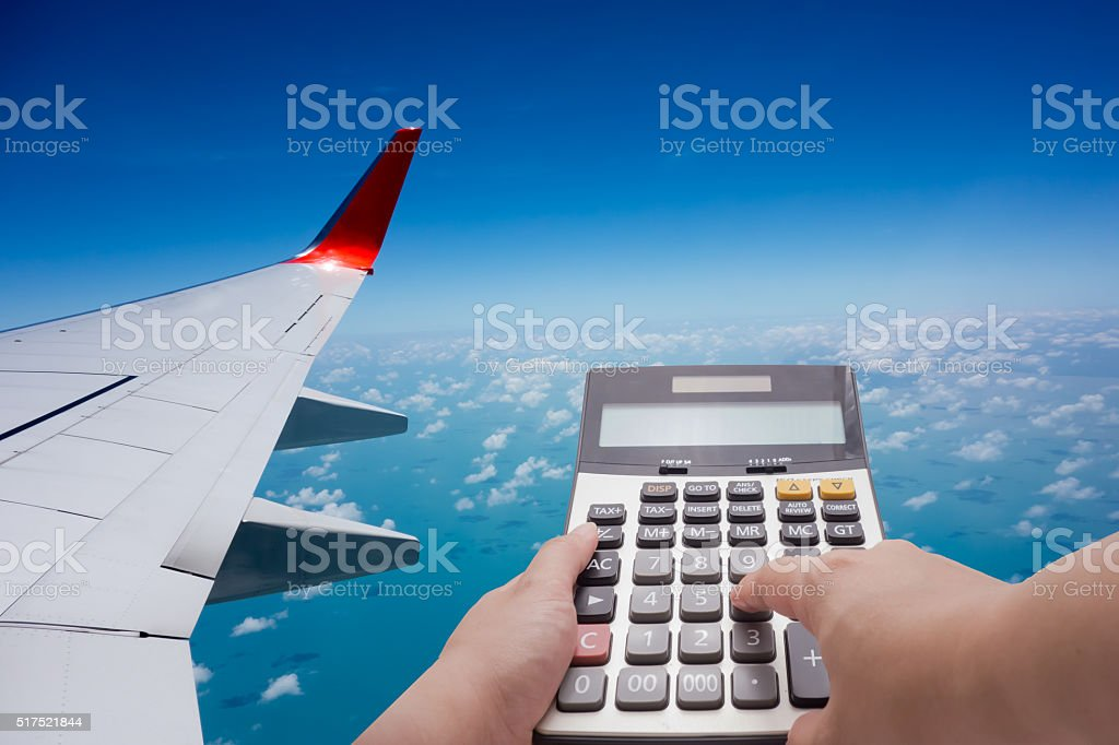 Travel cost calculation concept stock photo