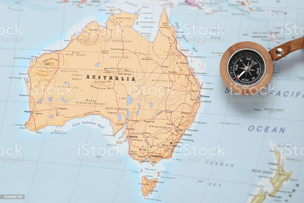 Map Of The World With Compass.Travel Destination Australia Map With Compass Stock Photo More
