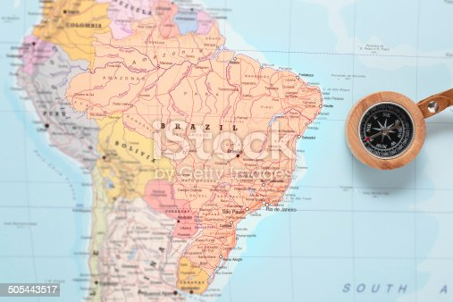 istock Travel destination Brazil, map with compass 505443517