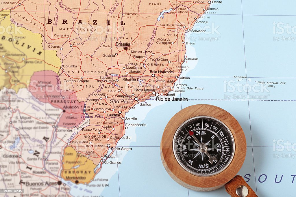 Travel destination Brazil, map with compass stock photo