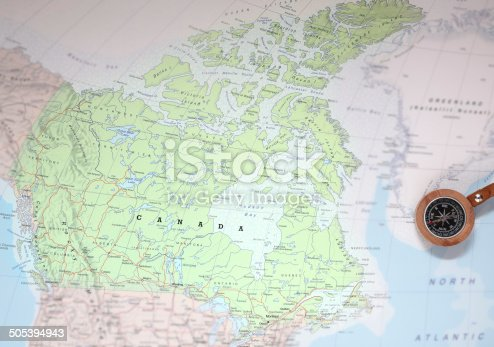 istock Travel destination Canada, map with compass 505394943