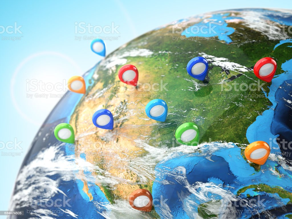 Travel destination concept. Pin on earth. Navigation in USA. stock photo