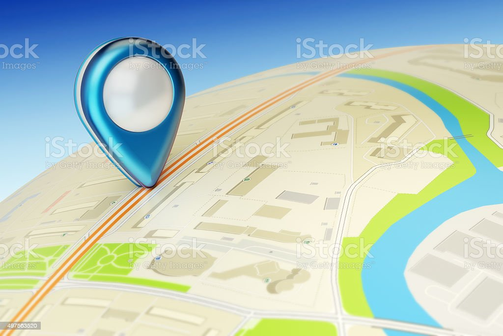 Travel destination, gps location and positioning concept stock photo