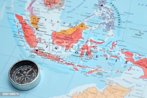 istock Travel destination Indonesia, map with compass 506158873