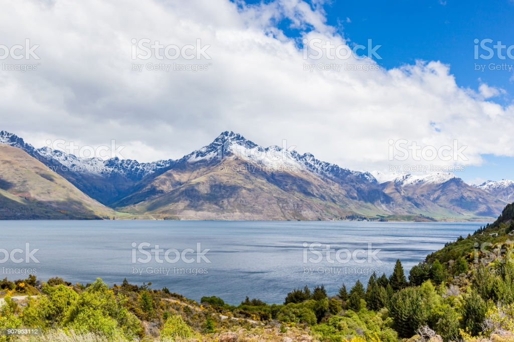 Travel destination, lake and alpine landscape stock photo