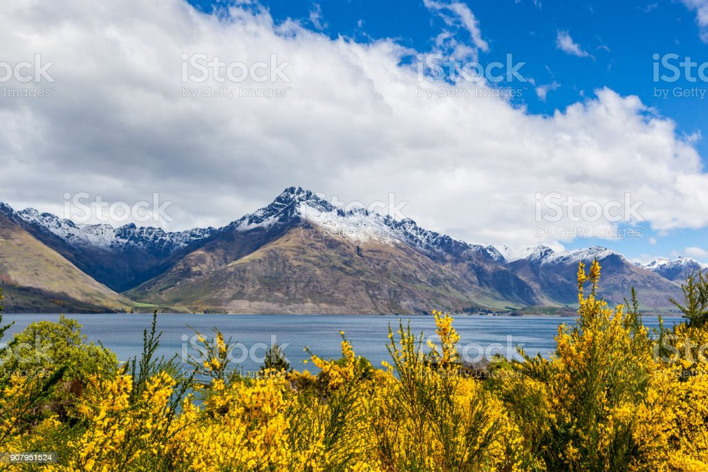 Travel destination, lake and alpine mountain landscape stock photo