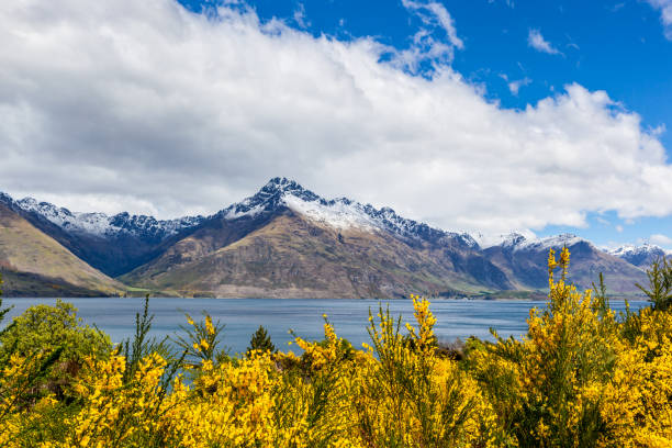 Travel destination, lake and alpine mountain landscape stock photo