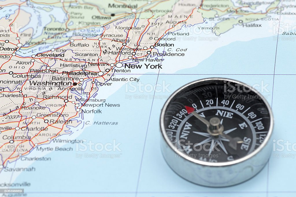 Travel Destination New York United States Map With Compass Stock ...