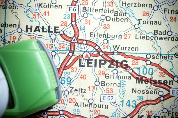 travel destination - germany map leipzig bildbanksfoton och bilder