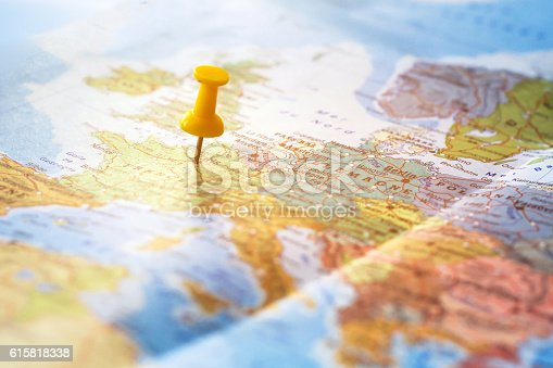 istock travel destination, pin on the world map 615818338