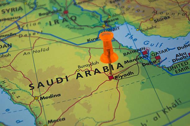 travel destination riyadh - saudi arabia map stock photos and pictures