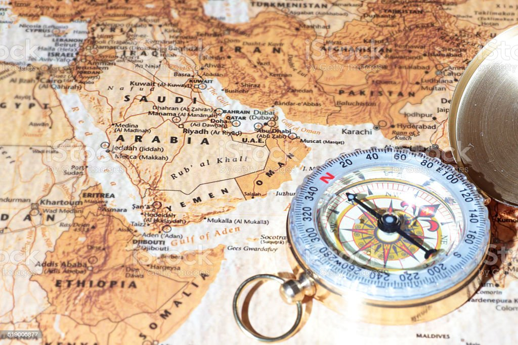 Travel Destination Saudi Arabia Ancient Map With Vintage