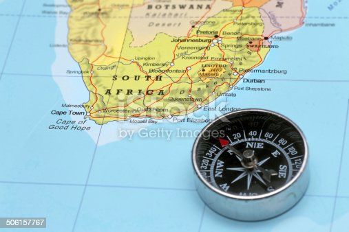 istock Travel destination South Africa, map with compass 506157767